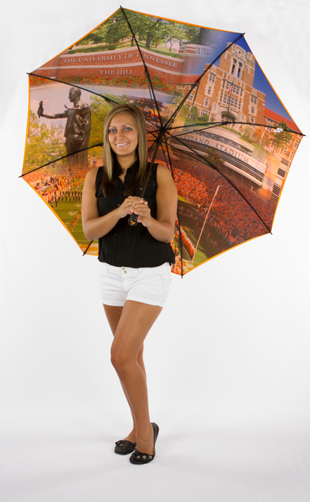 "Click for more info and to purchase your UT umbrella. This double canopied umbrella is very unique. Imprinted on the outer canopy is the ""Power T"" with ""The University of Tennessee"" text. Full color graphics on the inner canopy."